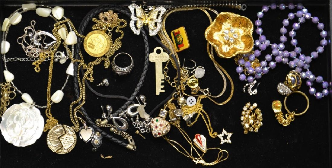 Costume Jewelry Grouping Includes a Monet floral pin,