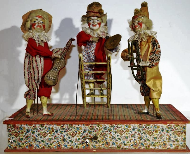 19th Century Hand Cranked Mechanical Clown Band Has 3