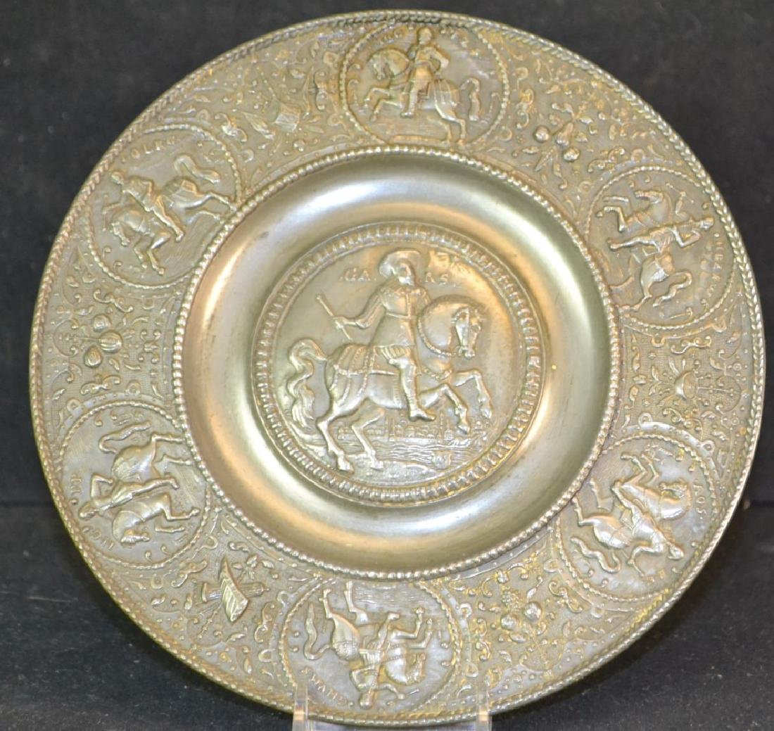 19th Century Pewter Relief Decorated Plate.