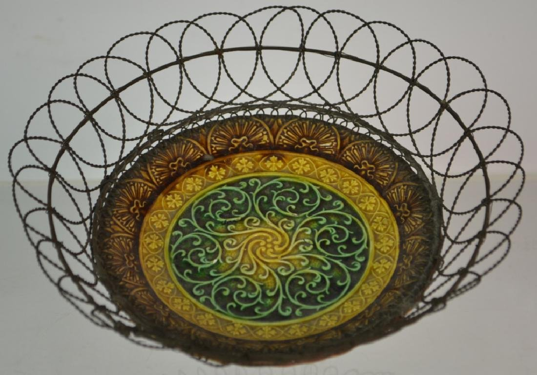 Wire Framed Majolica Basket