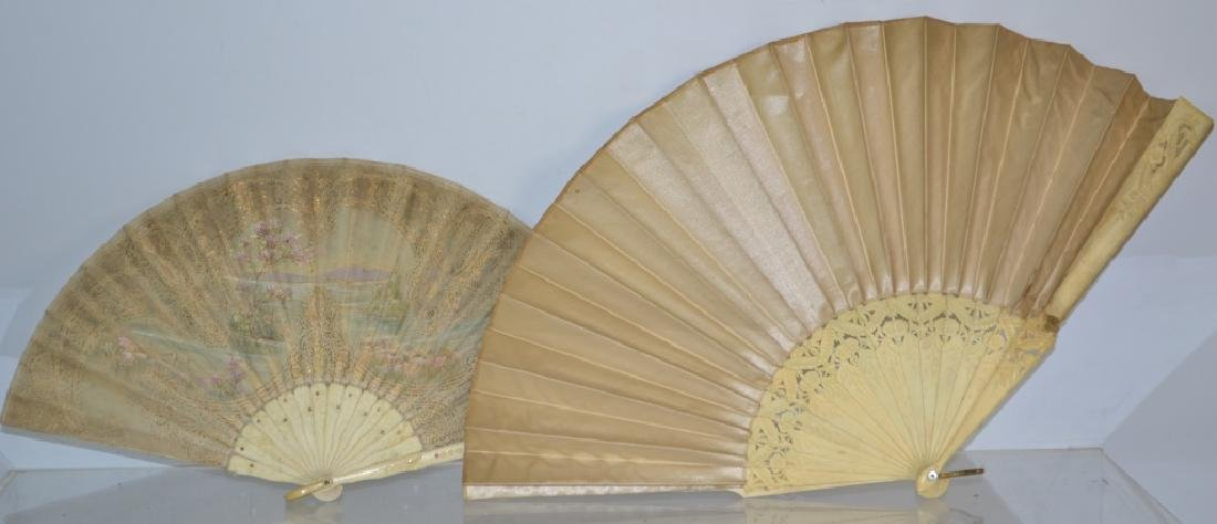 Pair of 19th Century Silk and Bone Fans