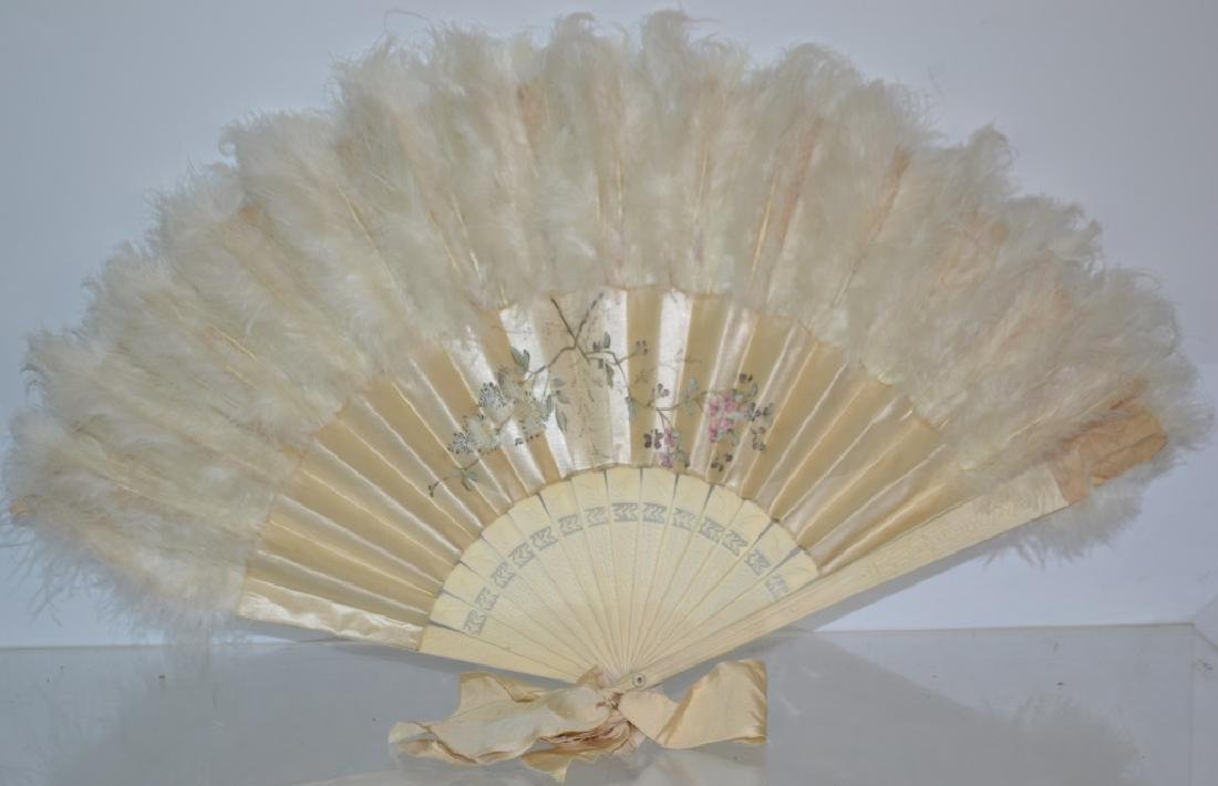 Large Silk and Feather Fan