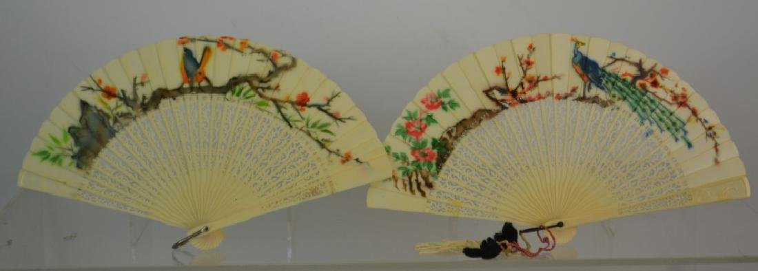 Pair of Japanese Celluloid Hand Painted Fans