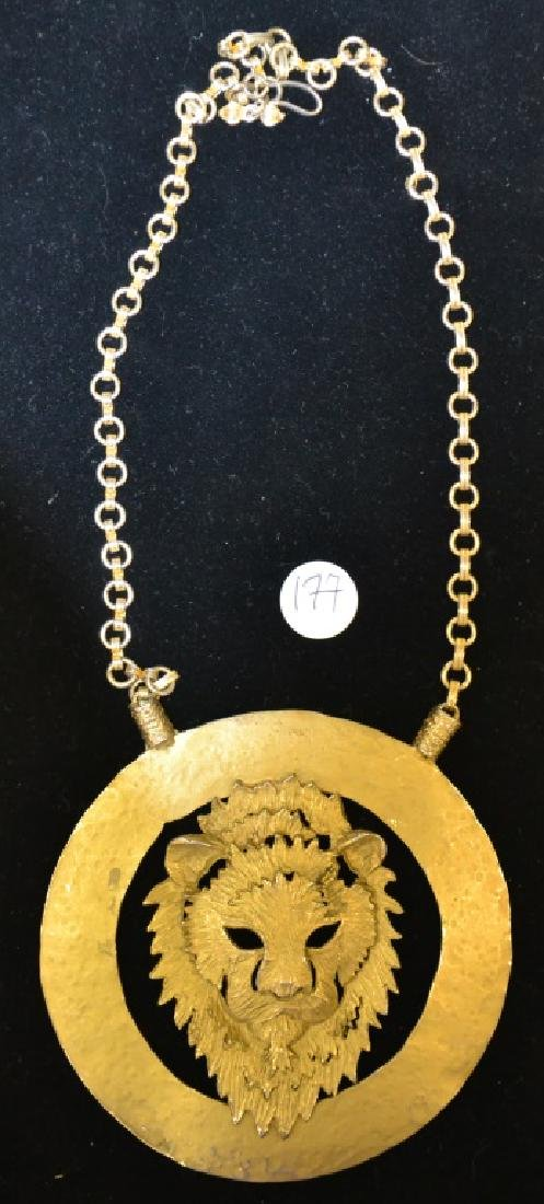 Large Lion Head Pendant Necklace