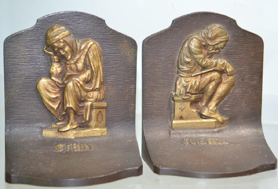 Bradley & Hubbard Arts and Crafts Bronze Bookends