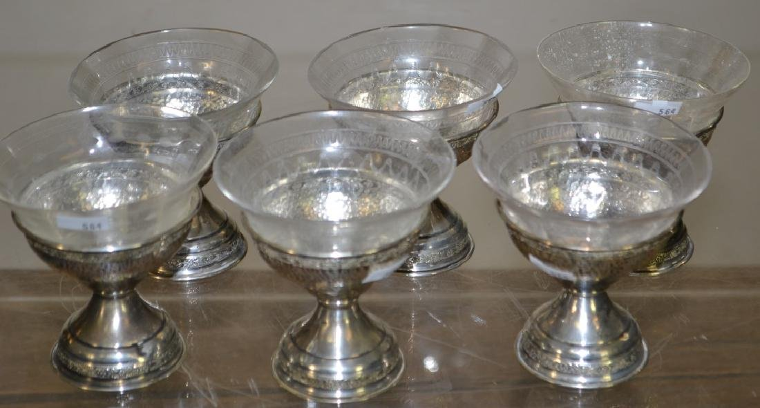Set of 6 Sterling Sherbets with Inserts