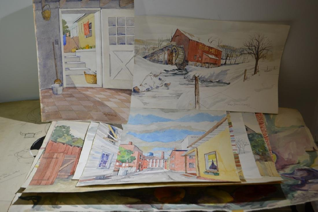 Large Watercolor Grouping by Ed Strickland