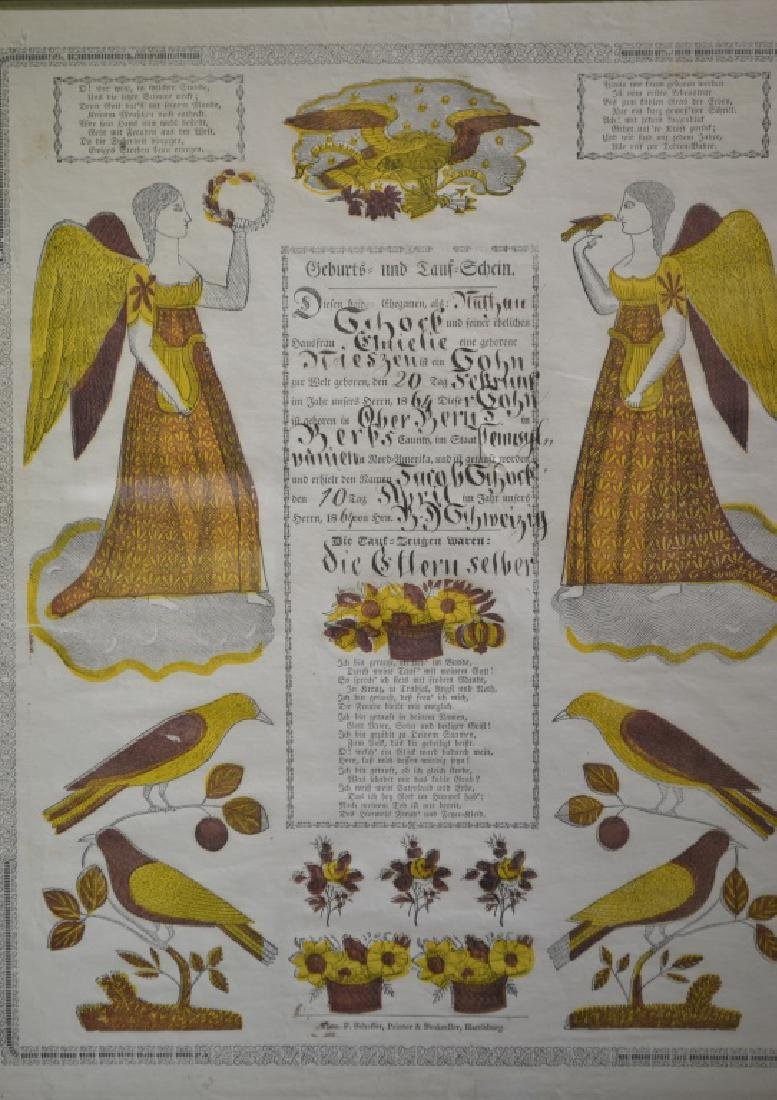 19th Century Pa German Birth Certificate