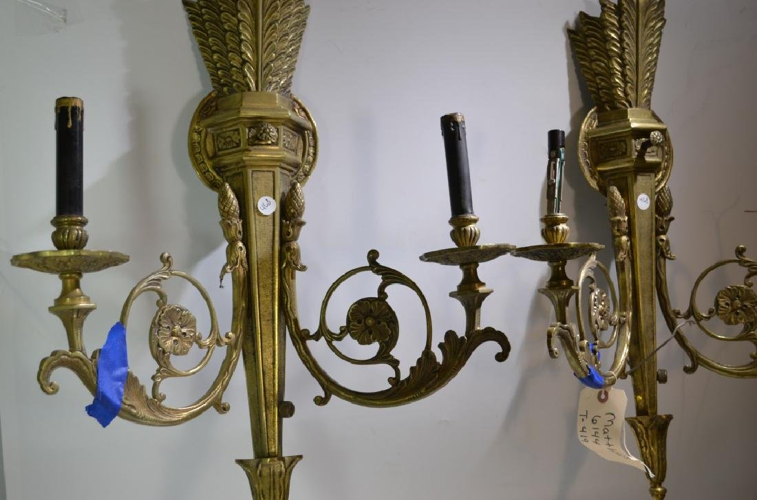 Pair of Ornate Brass Wall Sconces