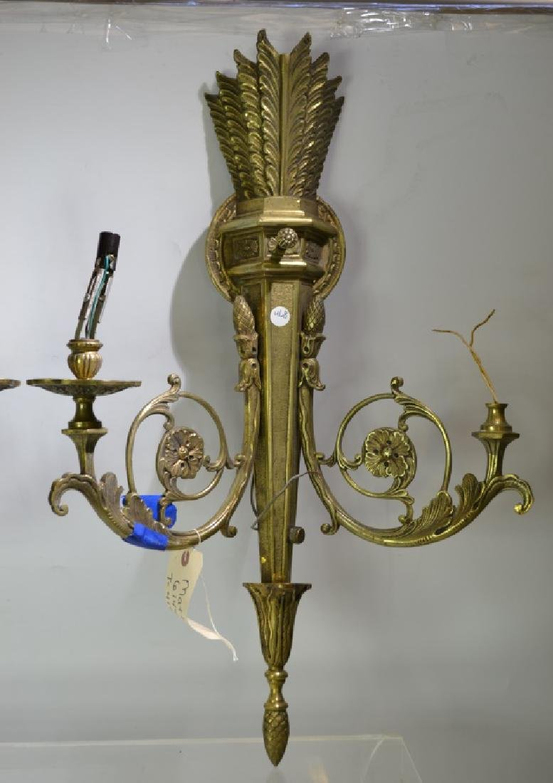 Pair of Ornate Brass Wall Sconces - 2