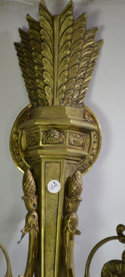 Pair of Ornate Brass Wall Sconces - 3
