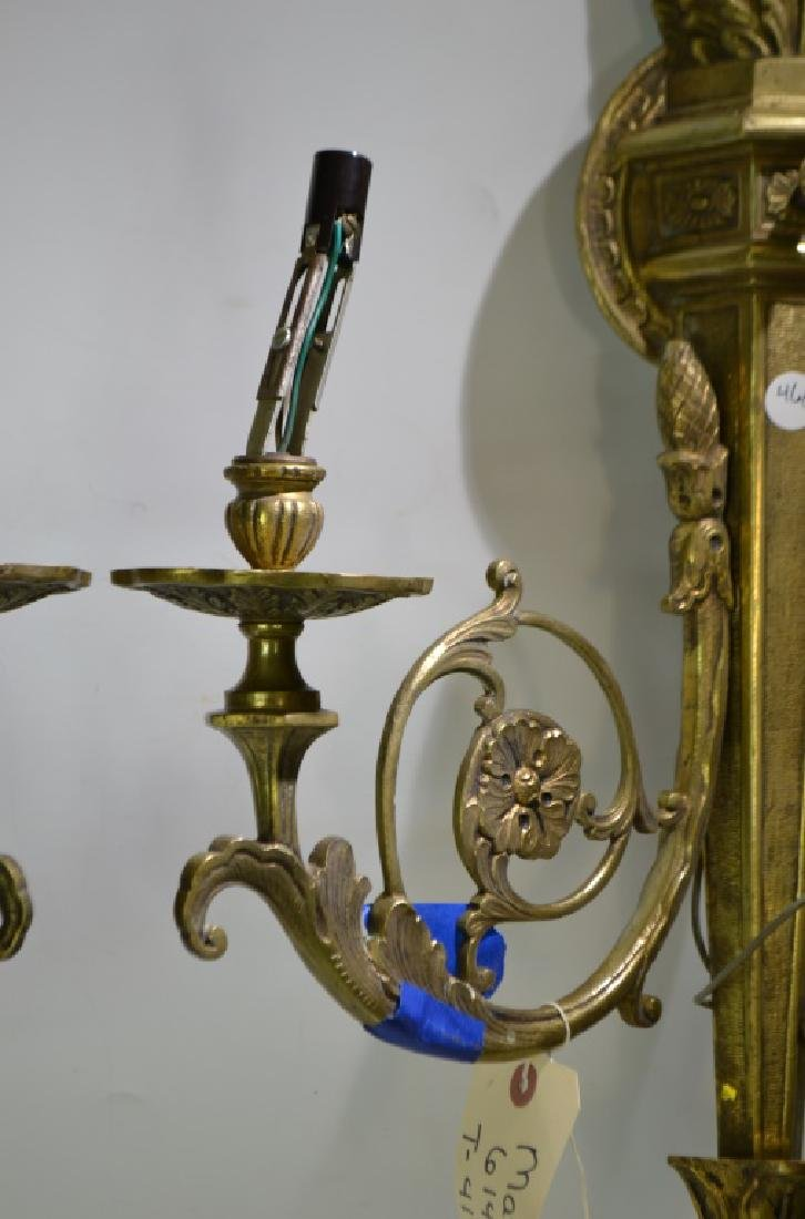 Pair of Ornate Brass Wall Sconces - 5