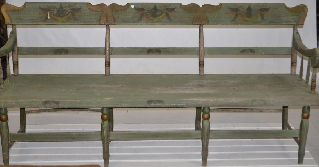 19th Century Painted Plank Seat Bench