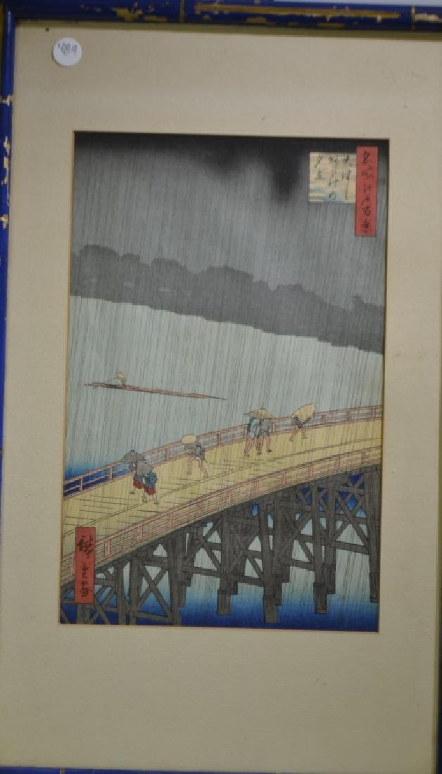 Asian Print Scene on a Bridge