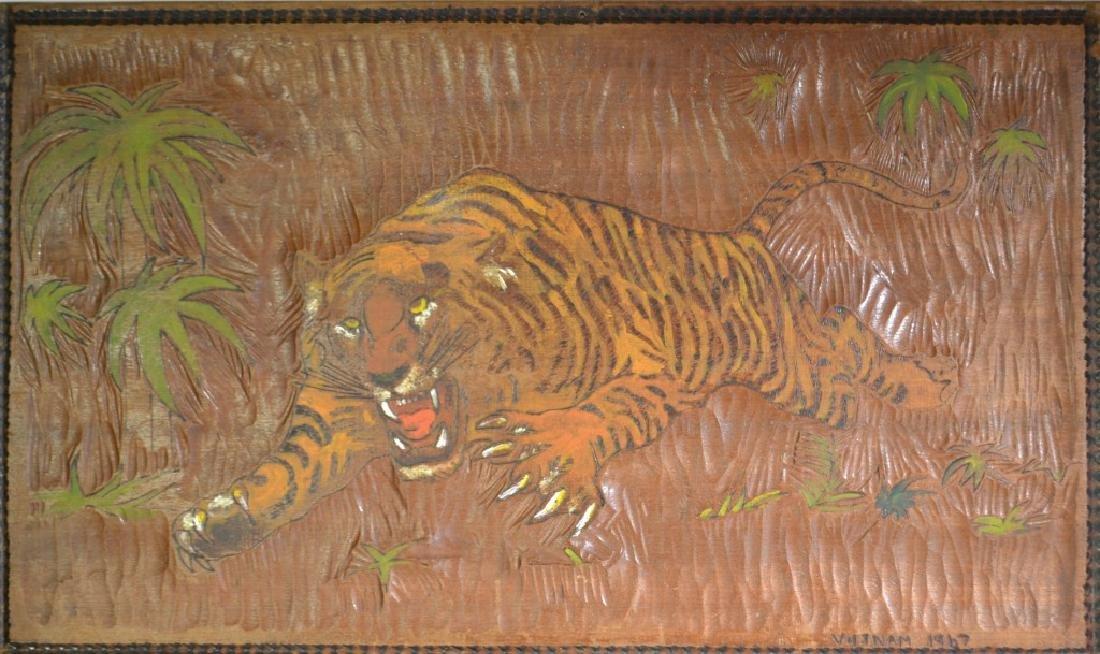 Carved Wooden Tiger Marked Vietnam 1967