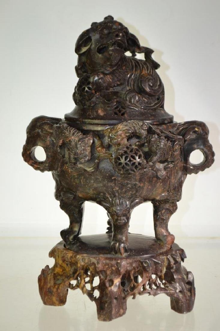 19thC Asian Marble Incense Burner with Foo Dog