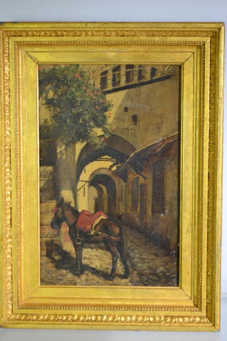 19th Century Oil Painting of a Burro on Canvas
