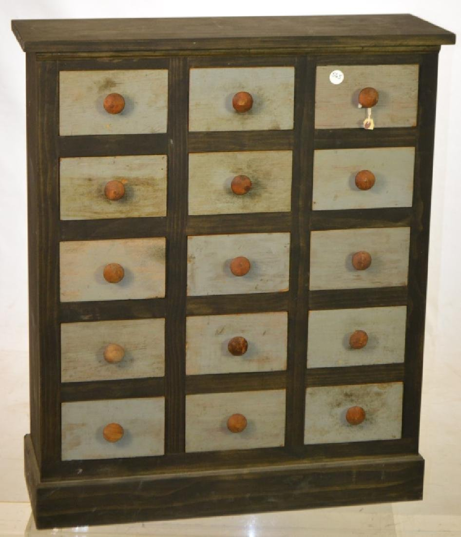 15 Drawer Pine Apothecary Cabinet