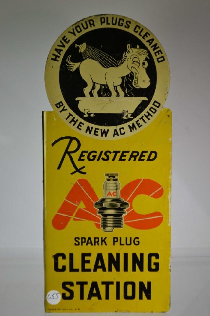 Mid Century AC Tin Sparkplug Sign
