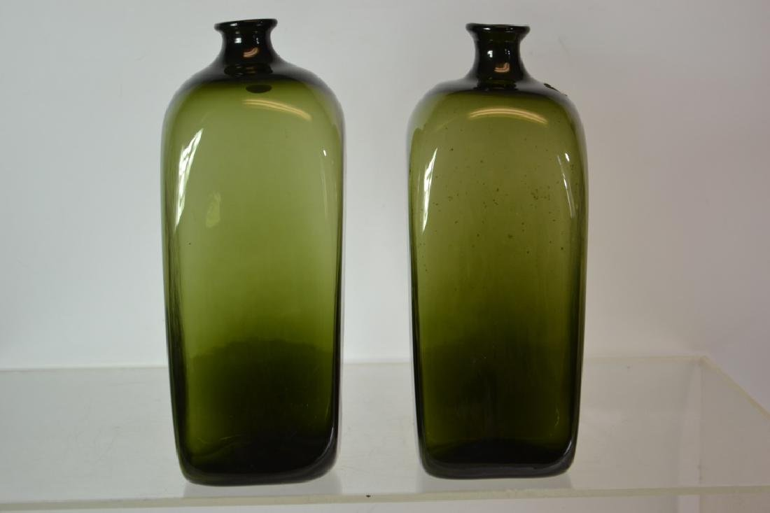 Pair of Hand Blown Green Glass Bottles