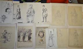 Grouping of E B Nolan Pen  Ink Drawings