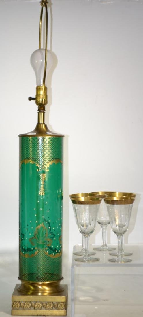 Green Glass Lamp and Flashed Stems