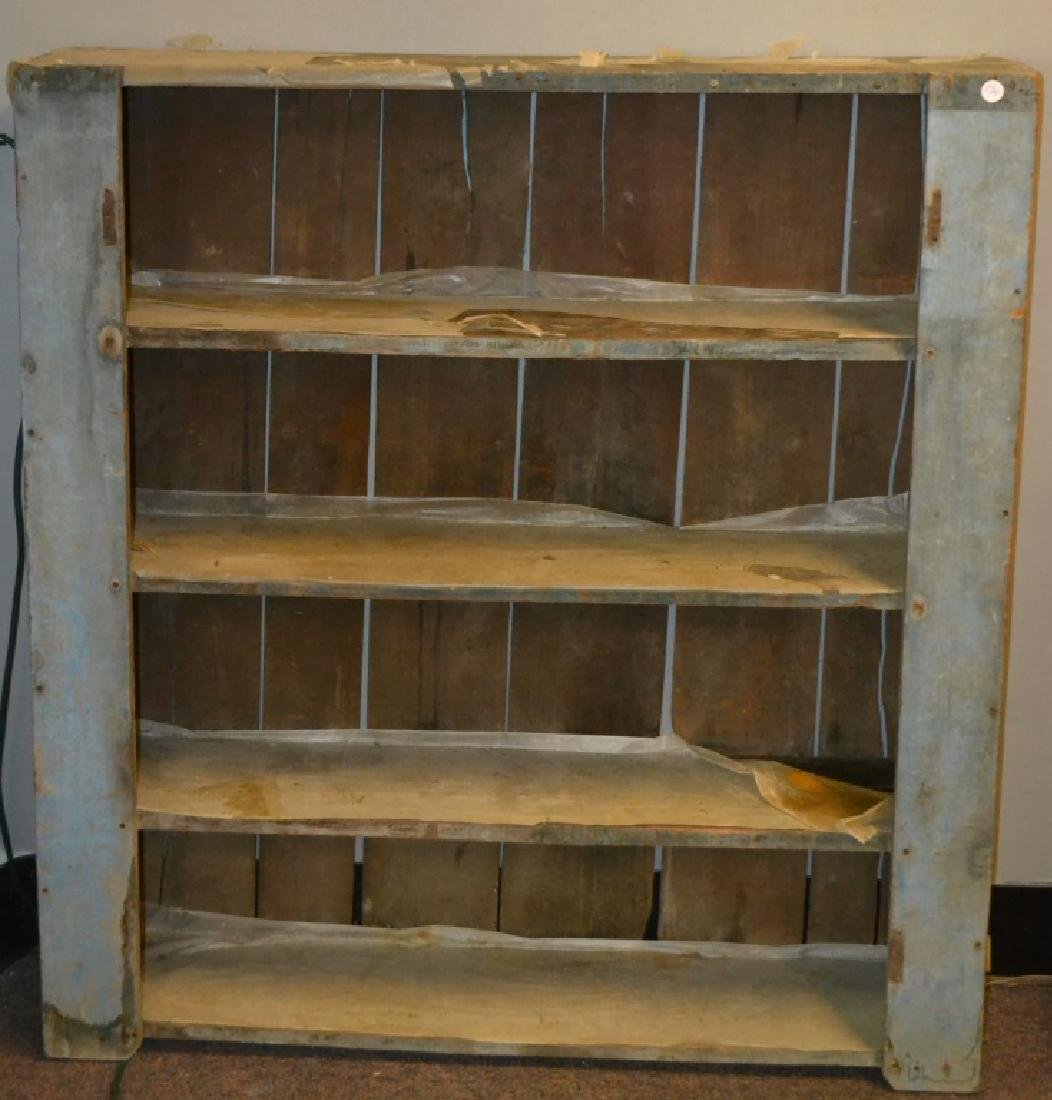 19th C. Open Cupboard with Original Blue Paint