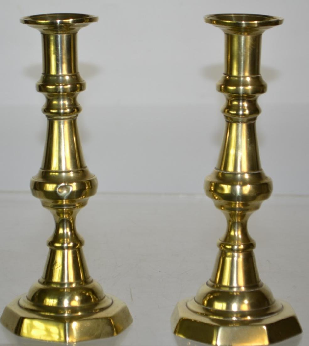 Pair 19th Century English Brass Candlesticks