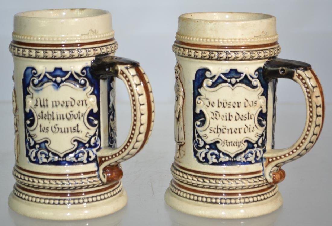 Matched Pair of German Pottery Beer Steins