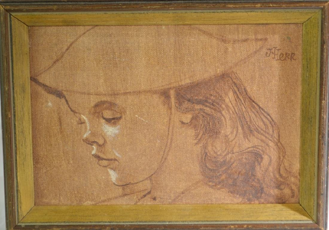 Oil Painting, Profile of a Young Girl