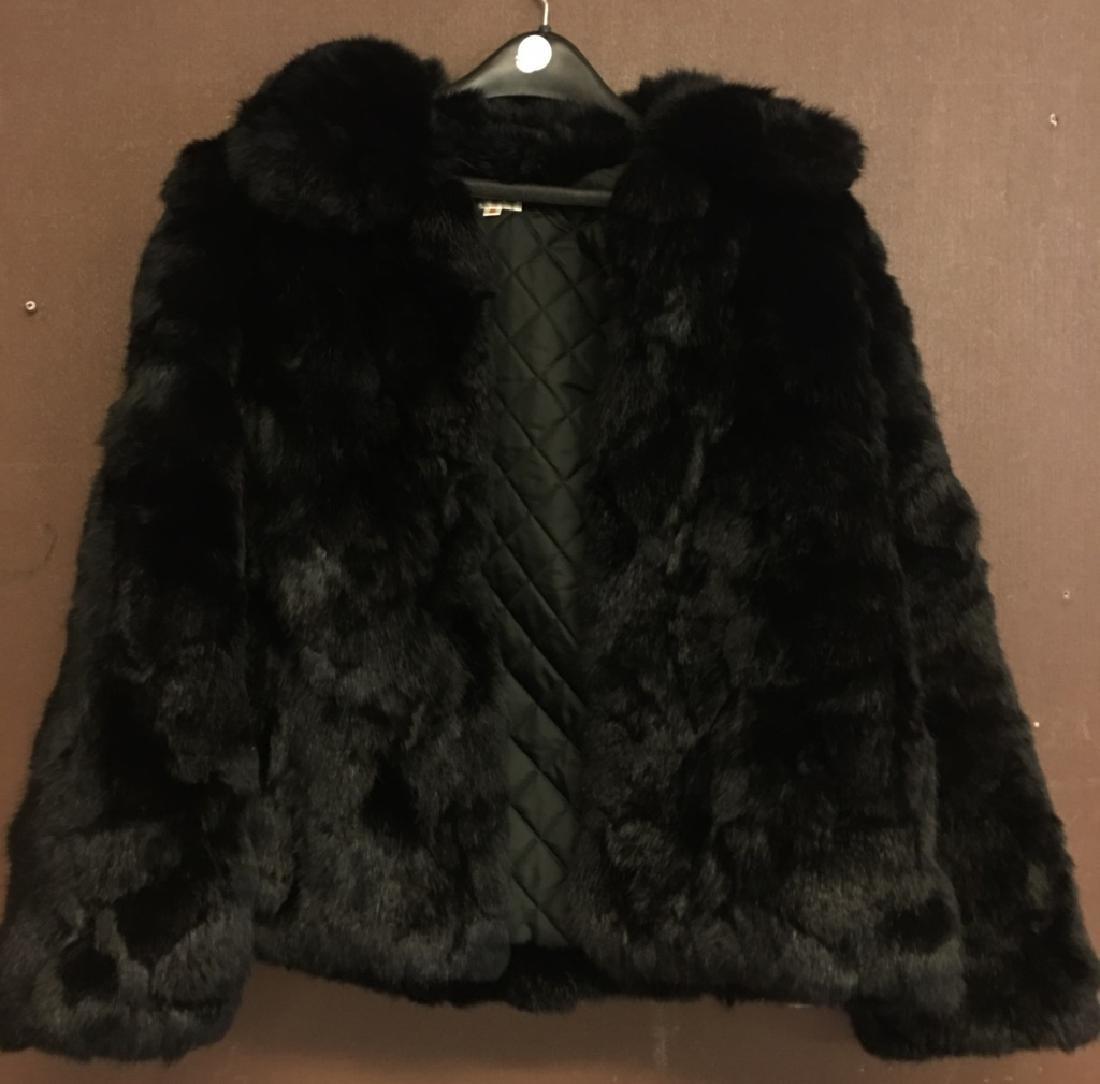 Ladies Black Rabbit Fur Jacket