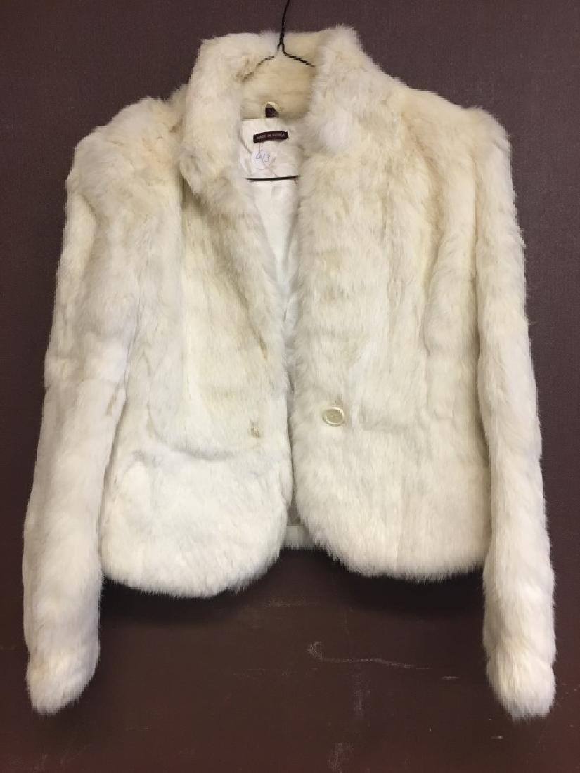 Ladies White Rabbit Fur Jacket
