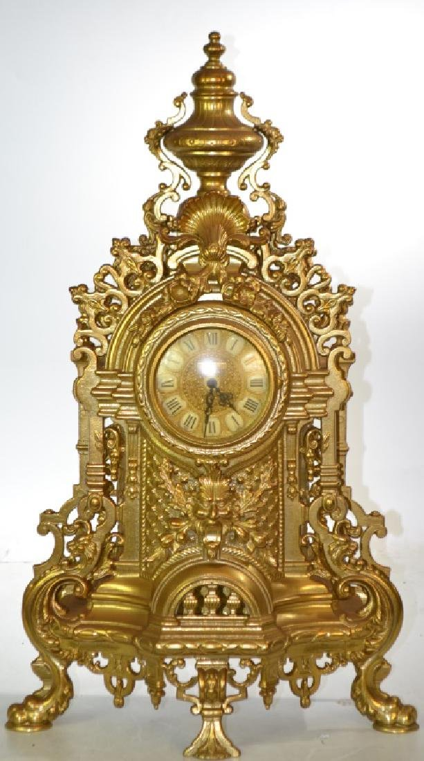 Large Brass Mantle Clock