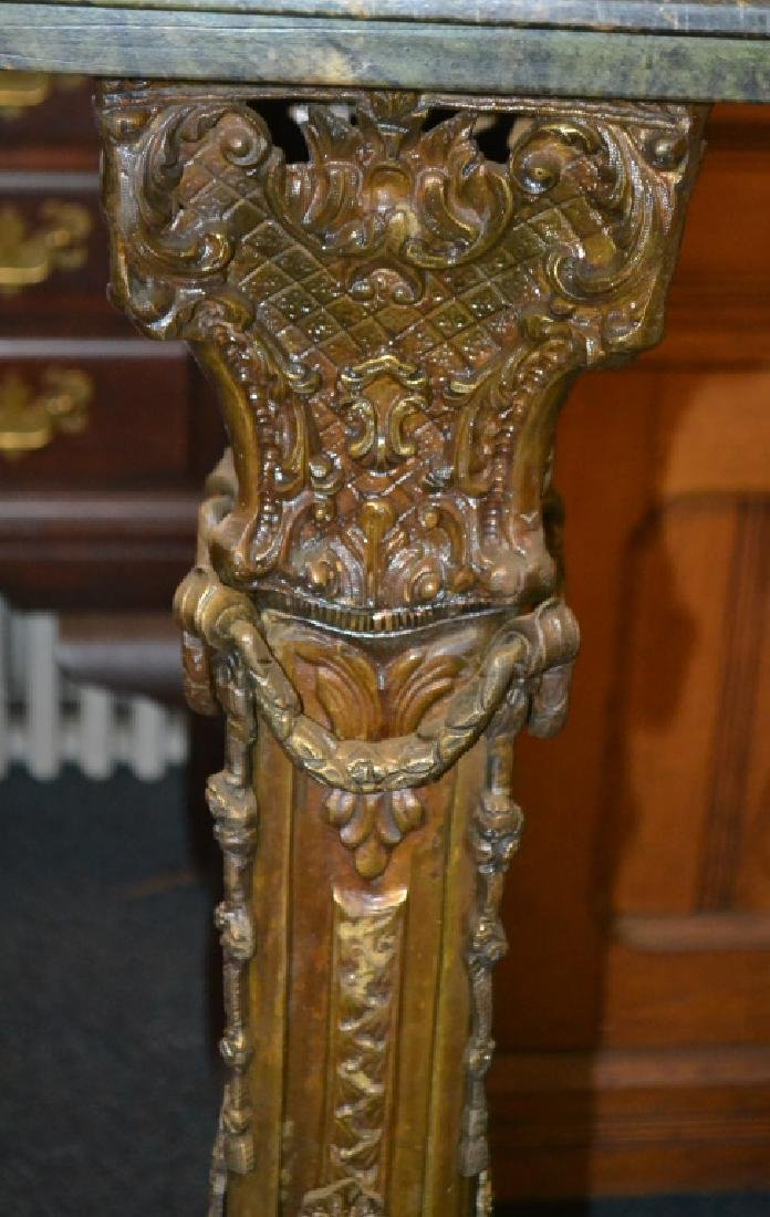 Victorian Brass and Green Marble Pedestal - 3