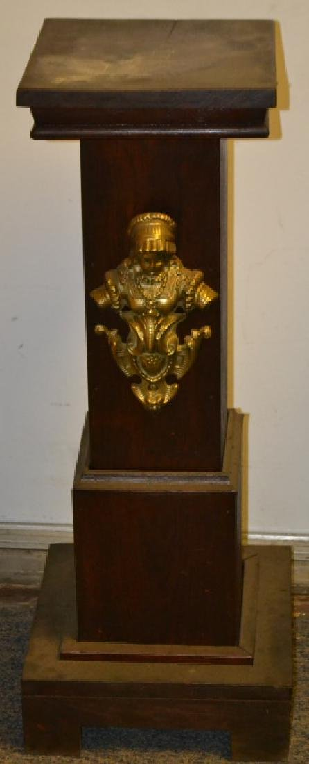 Oak Pedestal with Brass Accents