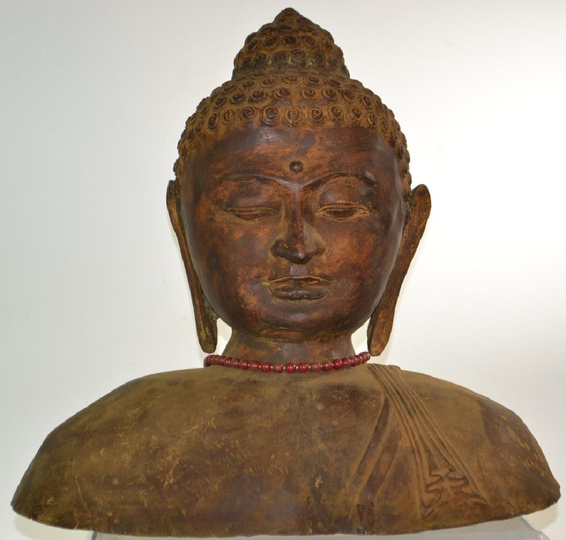 Large Metal Bust of Buddha