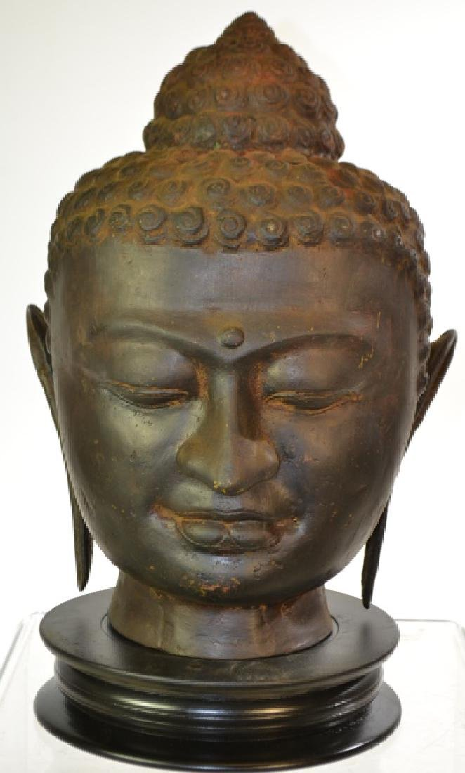 Large Metal Buddha Head with Base
