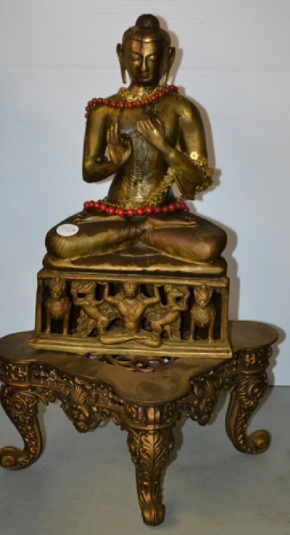 Brass Buddha with Ornate Base