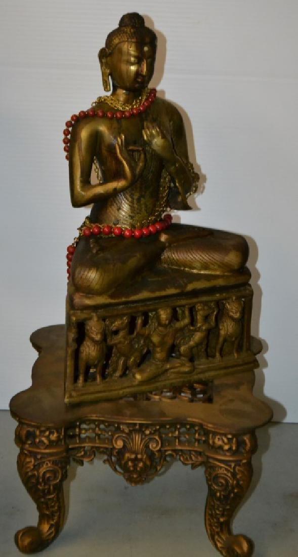 Brass Buddha with Ornate Base - 2