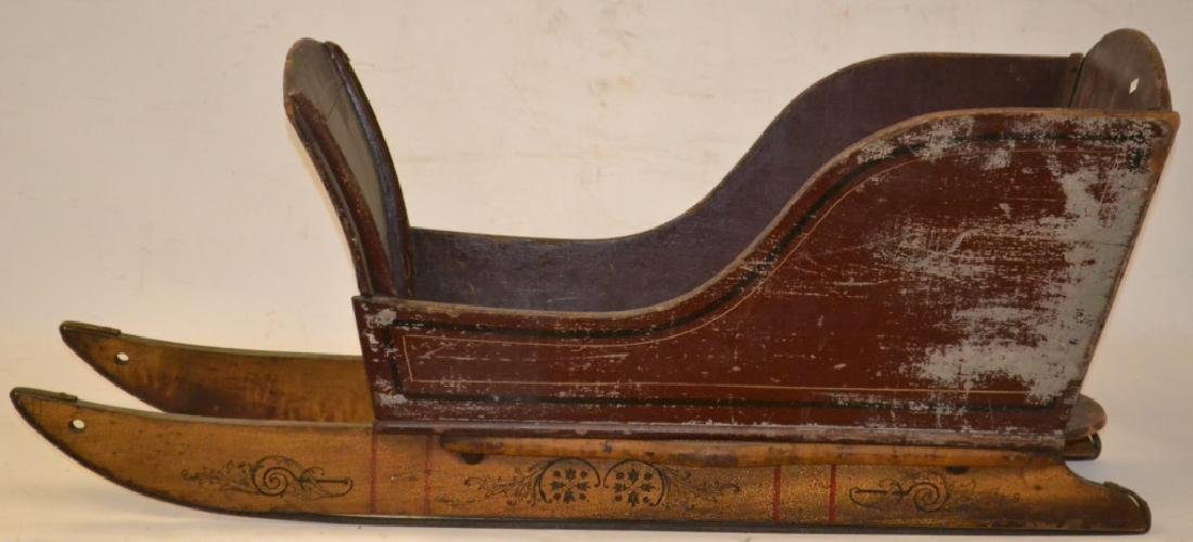 Outstanding Decorated 19th Century Child's Sleigh