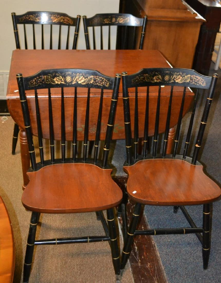 Four Hitchcock Chairs and a Table