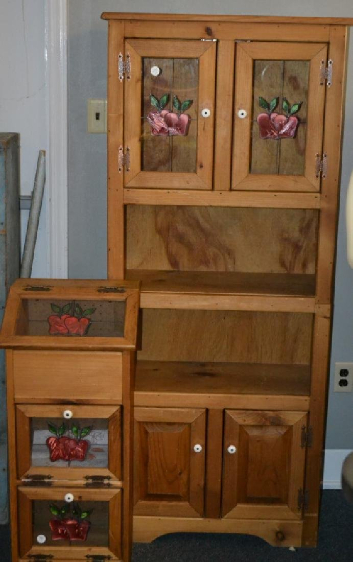 Cupboard and Bin with Apples on the Glass