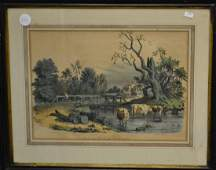 """Currier & Ives Lithograph """"Summer Noon"""""""