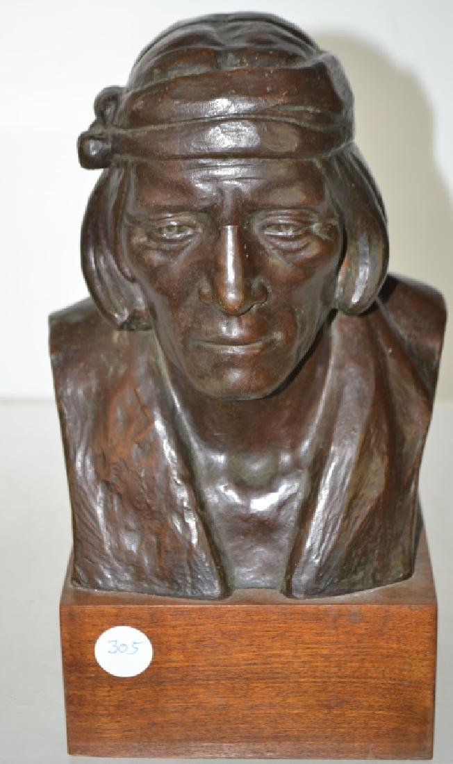 Bronze Bust of a Hopi Indian by Emry Kopta