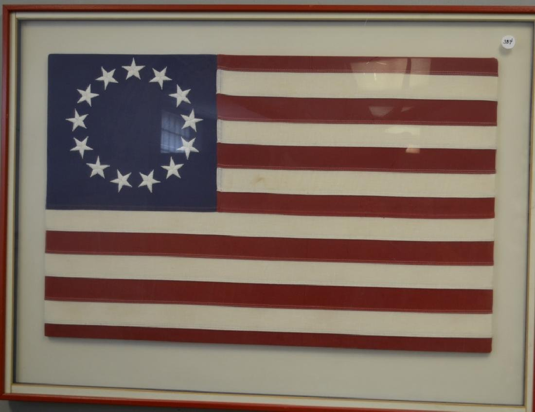Framed Thirteen Star American Flag