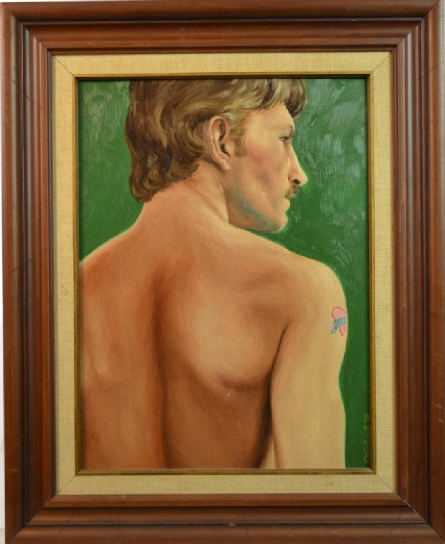 Oil on Board of a Man by Joel Michael