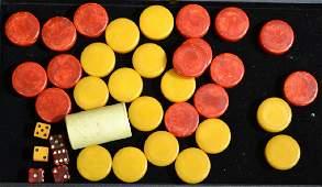 Grouping of Bakelite Poker Chips