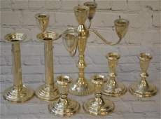Three pair of Sterling Candlesticks  Candelabra