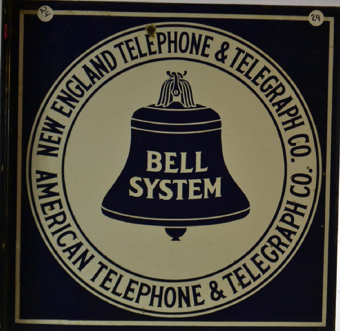 Enameled Bell Telephone Flange Sign