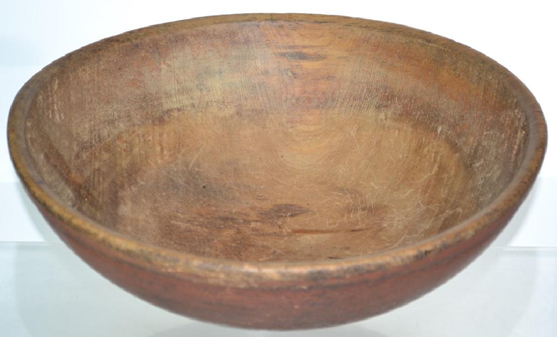 Red Painted Large Treen Batter Bowl